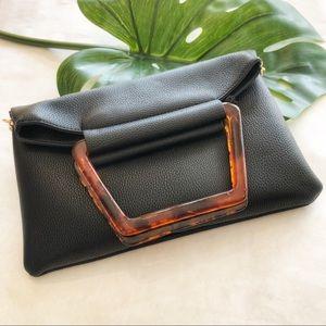 Moda Luxe Black Vegan Leather Clutch Purse